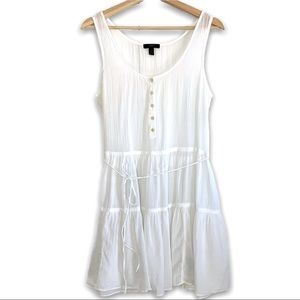 J Crew 100% Cotton White Sheer Cotton Beach Dress